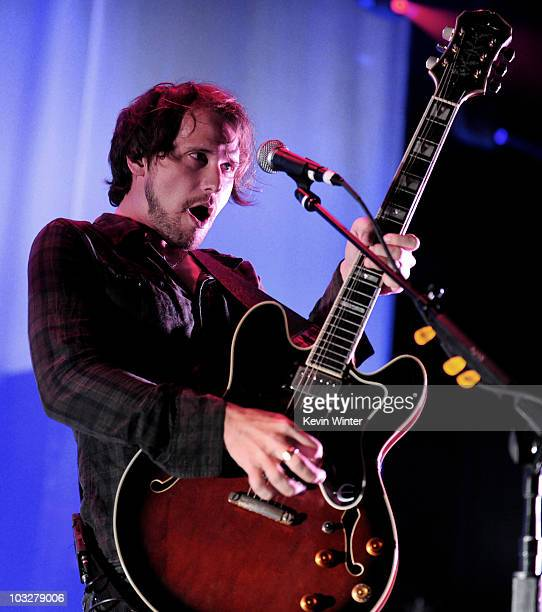 Musician Brian Aubert of the Silversun Pickups performs at the Greek Theatre on August 6 2010 in Los Angeles California