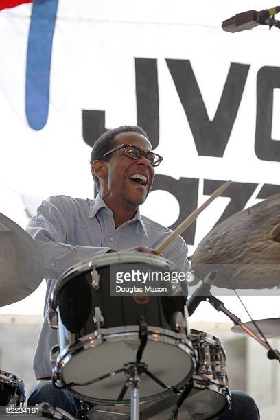 Musician Brian Blade performs at the JVC Jazz Festival Newport at Fort Adams State Park August 9 2008 in Newport Rhode Island