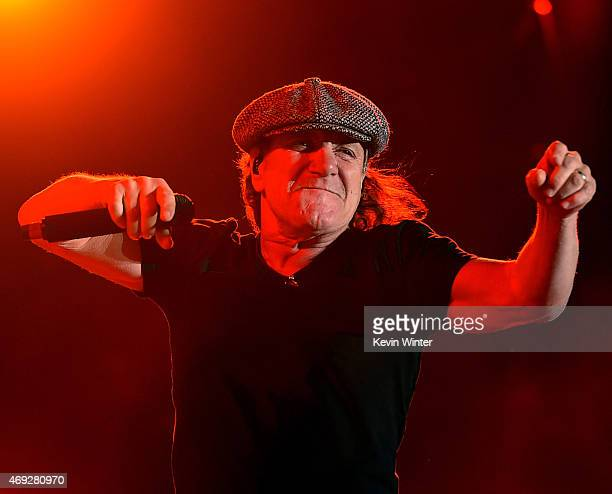 Musician Brian Johnson of AC/DC performs onstage during day 1 of the 2015 Coachella Valley Music Arts Festival at the Empire Polo Club on April 10...
