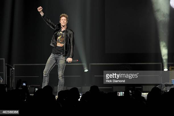 Musician Brian Kelley of Florida Georgia Line performs onstage during CBS Radio's The Night Before at US Airways Center on January 31 2015 in Phoenix...