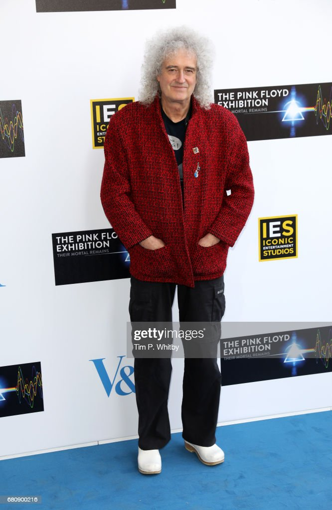 Musician Brian May attends the Pink Floyd Exhibition: Their Mortal Remains at the V&A on May 9, 2017 in London, England.