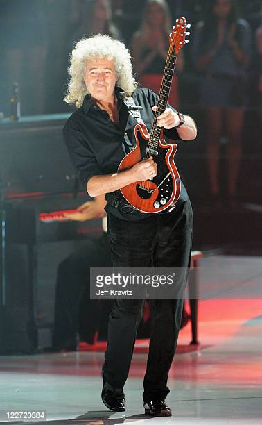 Musician Brian May performs onstage during the 2011 MTV Video Music Awards at Nokia Theatre LA Live on August 28 2011 in Los Angeles California