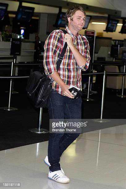 **EXCLUSIVE** Musician Brian McFadden leaves Sydney International Airport bound for England where his children live with their mother Kerry Katona on...