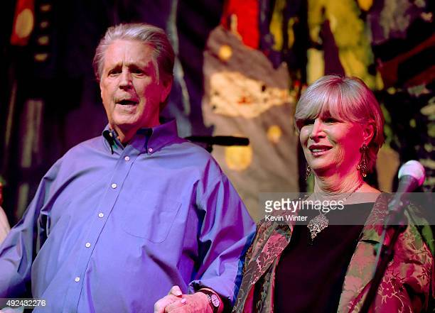 Musician Brian Wilson and his wife Melinda Ledbetter Wilson appear onstage at Roadside Attraction's Love and Mercy DVD release and music celebration...
