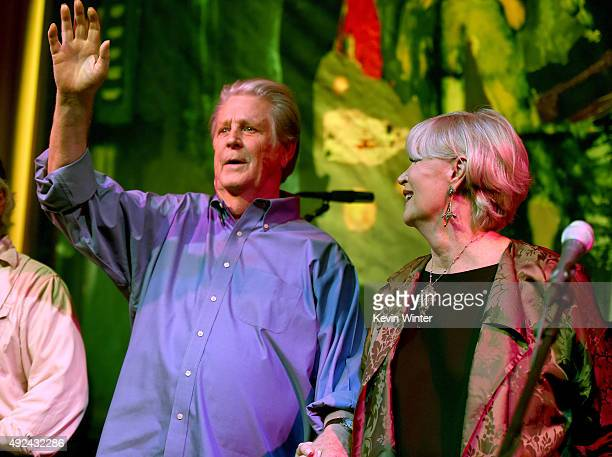 """Musician Brian Wilson and his wife Melinda Ledbetter Wilson appear onstage at Roadside Attraction's """"Love and Mercy"""" DVD release and music..."""