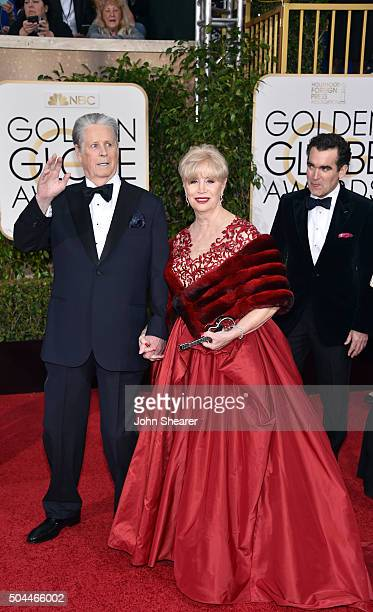Musician Brian Wilson and Melinda Ledbetter attend the 73rd Annual Golden Globe Awards held at the Beverly Hilton Hotel on January 10 2016 in Beverly...