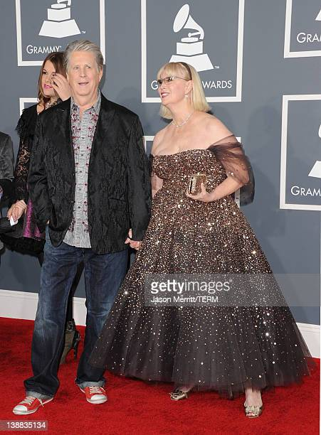 Musician Brian Wilson and Melinda Wilson arrive at the 54th Annual GRAMMY Awards held at Staples Center on February 12 2012 in Los Angeles California