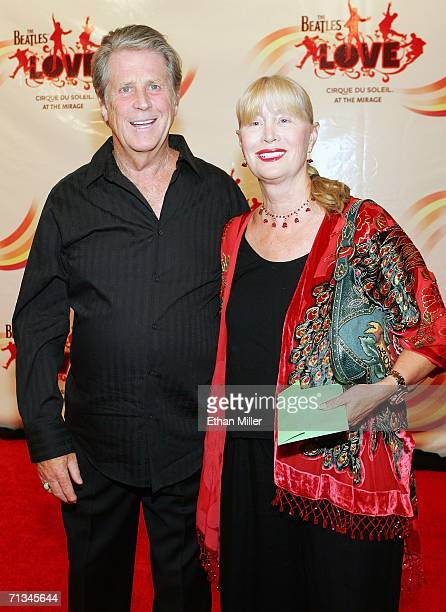 Musician Brian Wilson of the Beach Boys and his wife Melinda Ledbetter pose after attending the gala premiere of The Beatles LOVE by Cirque du Soleil...