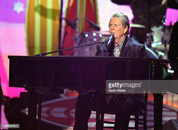 Musician Brian Wilson of The Beach Boys performs onstage at the 54th Annual GRAMMY Awards held at Staples Center on February 12, 2012 in Los Angeles,...