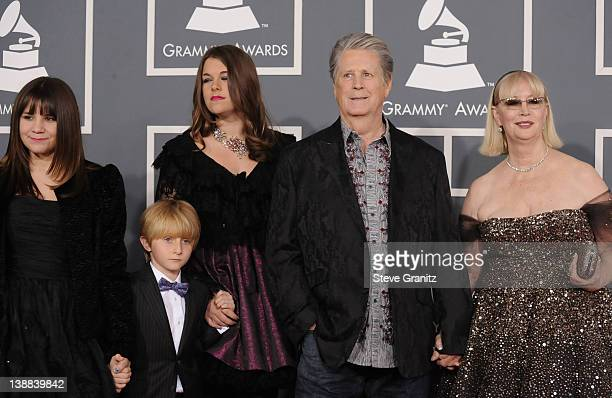 Musician Brian Wilson of the Beach Boys wife Melinda Wilson and family arrive at The 54th Annual GRAMMY Awards at Staples Center on February 12 2012...