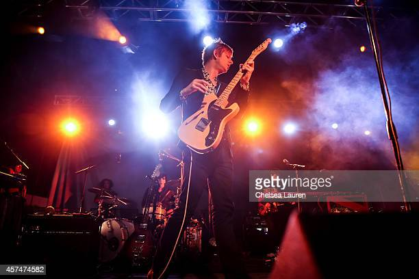 Musician Britt Daniel of Spoon performs during Moon Block Party at Fairplex on October 18 2014 in Pomona California