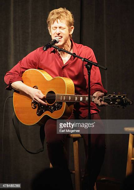 Musician Britt Daniel performs onstage at Warehouse Songs and Stories during the 2014 SXSW Music Film Interactive at Austin Convention Center on...