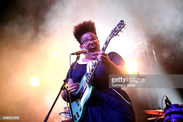 Musician Brittany Howard of Alabama Shakes performs at the Mercedes Benz Evolution Tour hel at The Barker Hanger on November 6 2014 in Santa Monica...