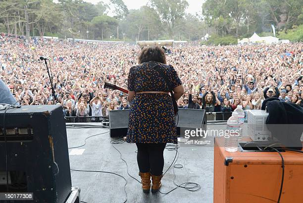Musician Brittany Howard of Alabama Shakes performs at the Sutro Stage during day 2 of the 2012 Outside Lands Music and Arts Festival at Golden Gate...