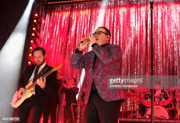 Musician Browan Lollar and singer Paul Janeway of St Paul and The Broken Bones perform during the 25th Annual Elton John AIDS Foundation's Academy...