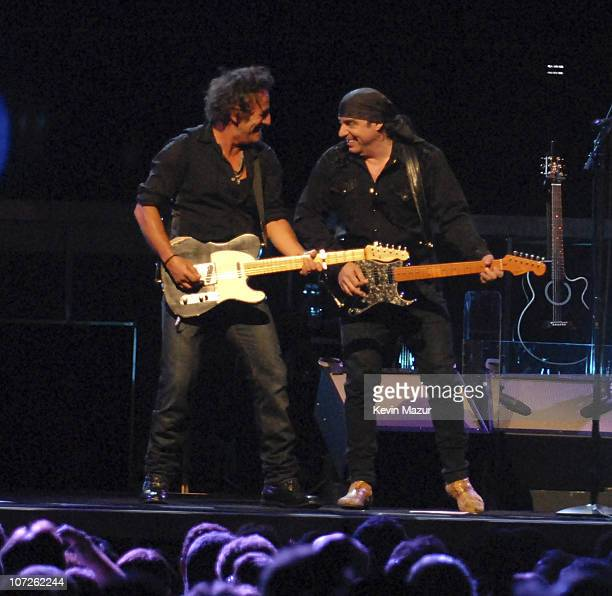Musician Bruce Springsteen and Musician Steven Van Zandt perform at the Hartford Civic Center Coliseum at the Bruce Springsteen and The E Street Band...