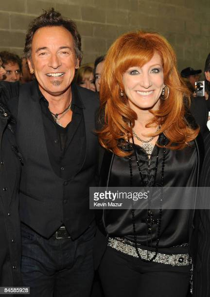 TAMPA FL FEBRUARY 01 *EXCLUSIVE* Musician Bruce Springsteen and Patti Scialfa of the E Street Band perform at the Bridgestone halftime show during...