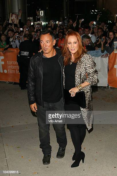 Musician Bruce Springsteen and wife Patti Scialfa attend The Promise The Making Of Darkness On The Edge Of Town Premiere during the 35th Toronto...