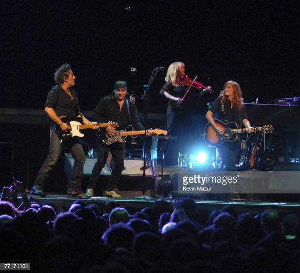 Musician Bruce Springsteen Musician Steven Van Zandt and Musician Patti Scialfa perform at the Hartford Civic Center Coliseum at the Bruce...