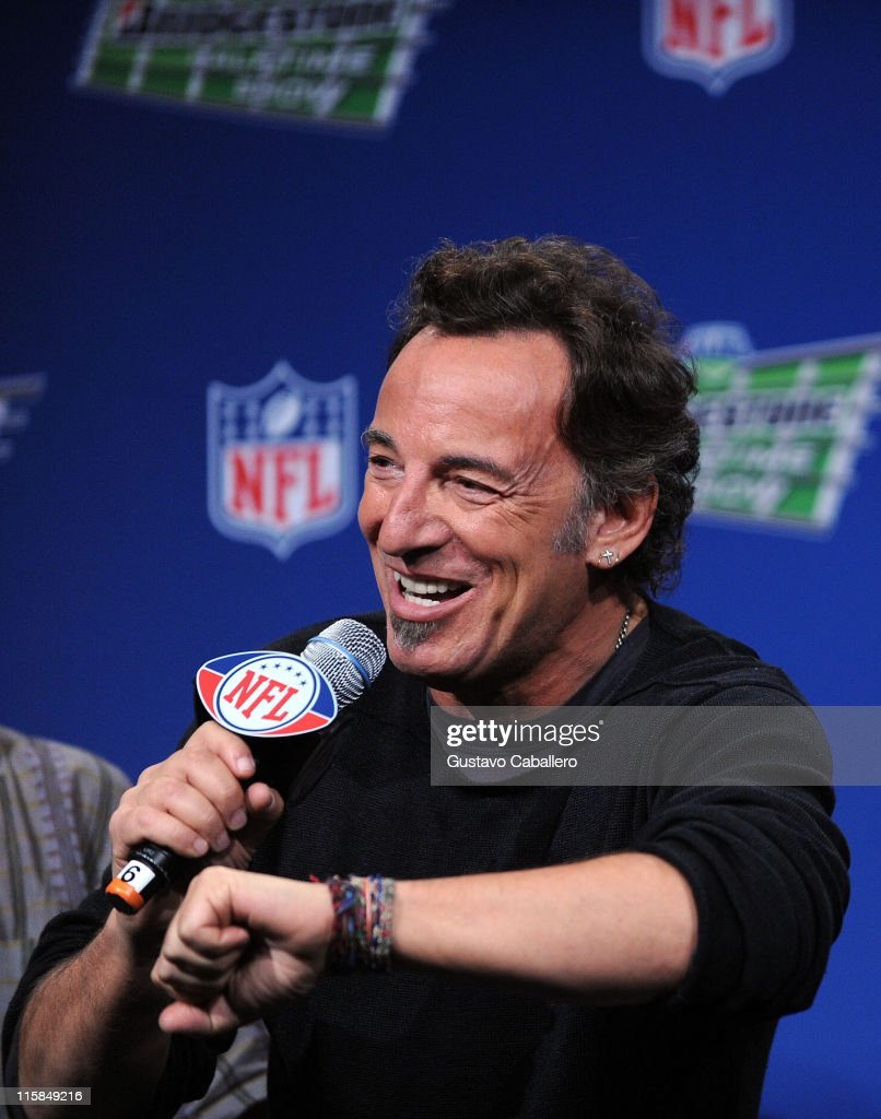 Musician Bruce Springsteen of the E Street Band speaks at the Bridgestone Super Bowl XVLII Half Time Show Press Conference held at the Tampa Convention Center on January 29, 2009 in Tampa, Florida.