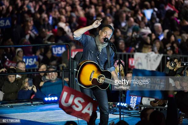 Musician Bruce Springsteen performs at an election eve rally for Democratic presidential nominee former Secretary of State Hillary Clinton on...