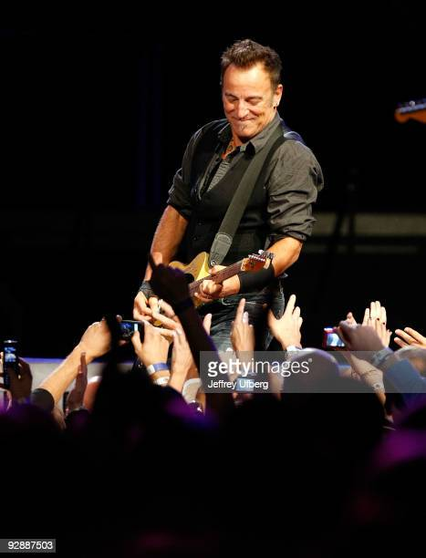 Musician Bruce Springsteen performs at Madison Square Garden on November 7 2009 in New York City