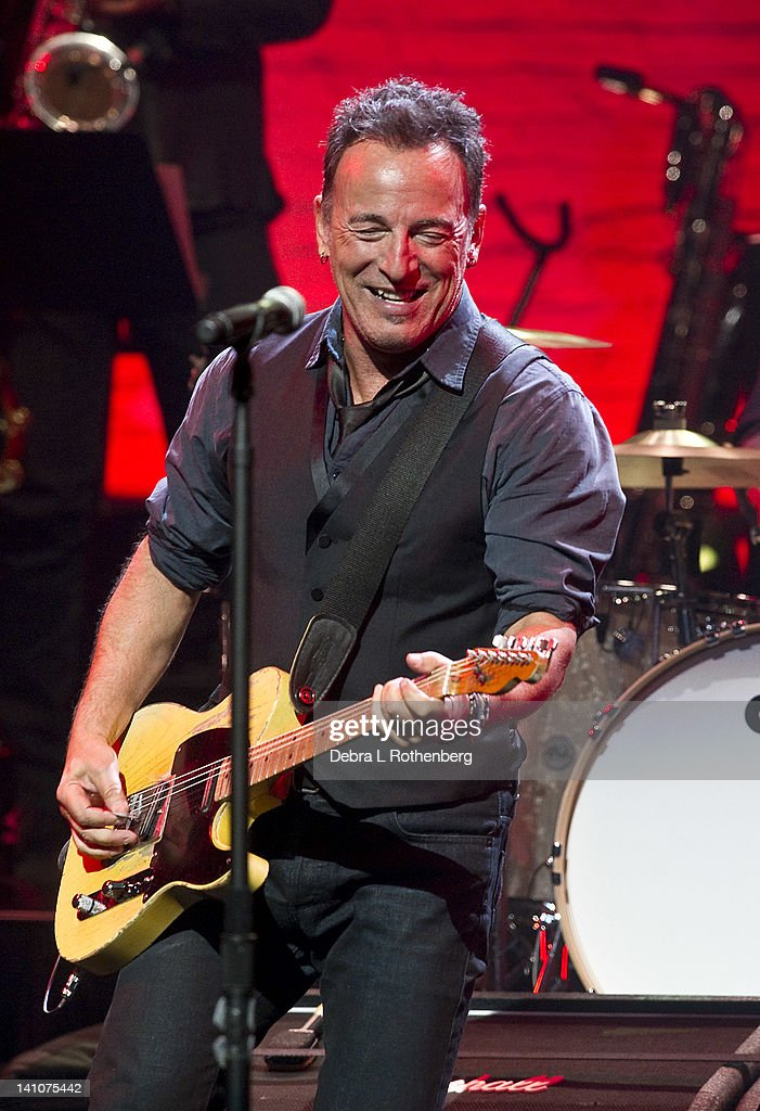 Musician Bruce Springsteen performs during SiriusXM's concert celebrating 10 years of satellite radio at The Apollo Theater on March 9, 2012 in New York City.