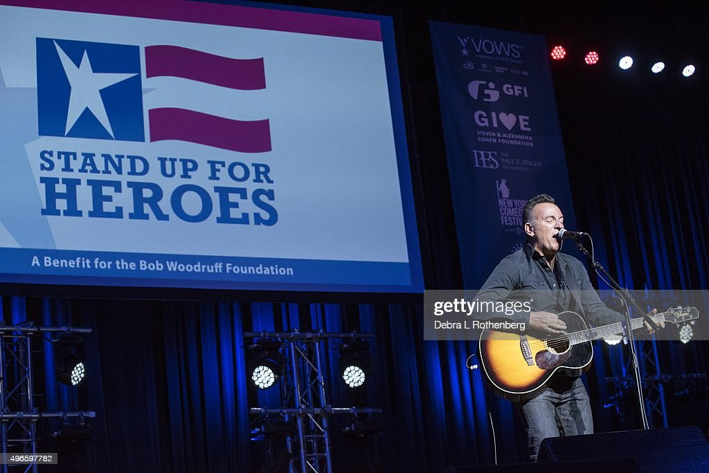 Musician Bruce Springsteen performs live at the 9th Annual Stand Up For Heroes Event presented by the NewYork Comedy Festival and the Bob Woodruff Foundation at Madison Square Garden on November 10, 2015 in New York City.