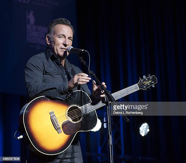 Musician Bruce Springsteen performs live at the 9th Annual Stand Up For Heroes Event presented by the NewYork Comedy Festival and the Bob Woodruff...