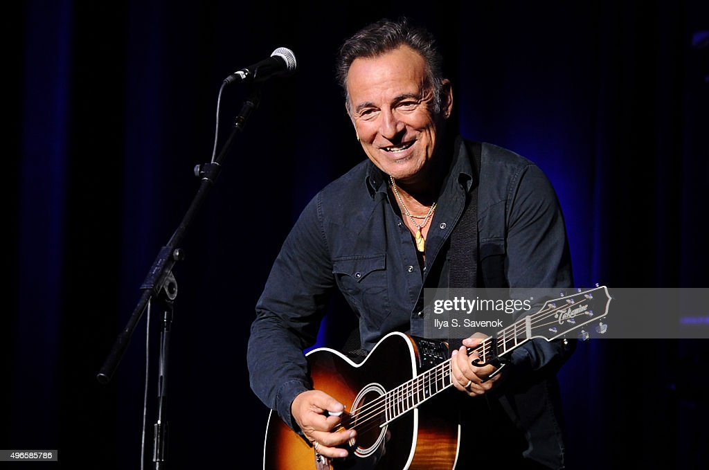 Musician Bruce Springsteen performs on stage at the New York Comedy Festival and the Bob Woodruff Foundation's 9th Annual Stand Up For Heroes Event on November 10, 2015 in New York City.