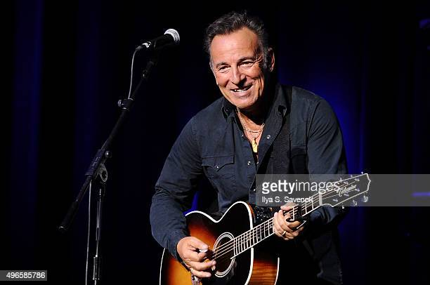 Musician Bruce Springsteen performs on stage at the New York Comedy Festival and the Bob Woodruff Foundation's 9th Annual Stand Up For Heroes Event...