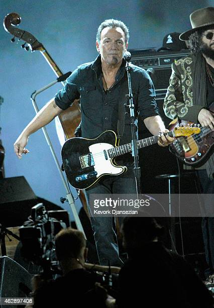 Musician Bruce Springsteen performs onstage at the 25th anniversary MusiCares 2015 Person Of The Year Gala honoring Bob Dylan at the Los Angeles...