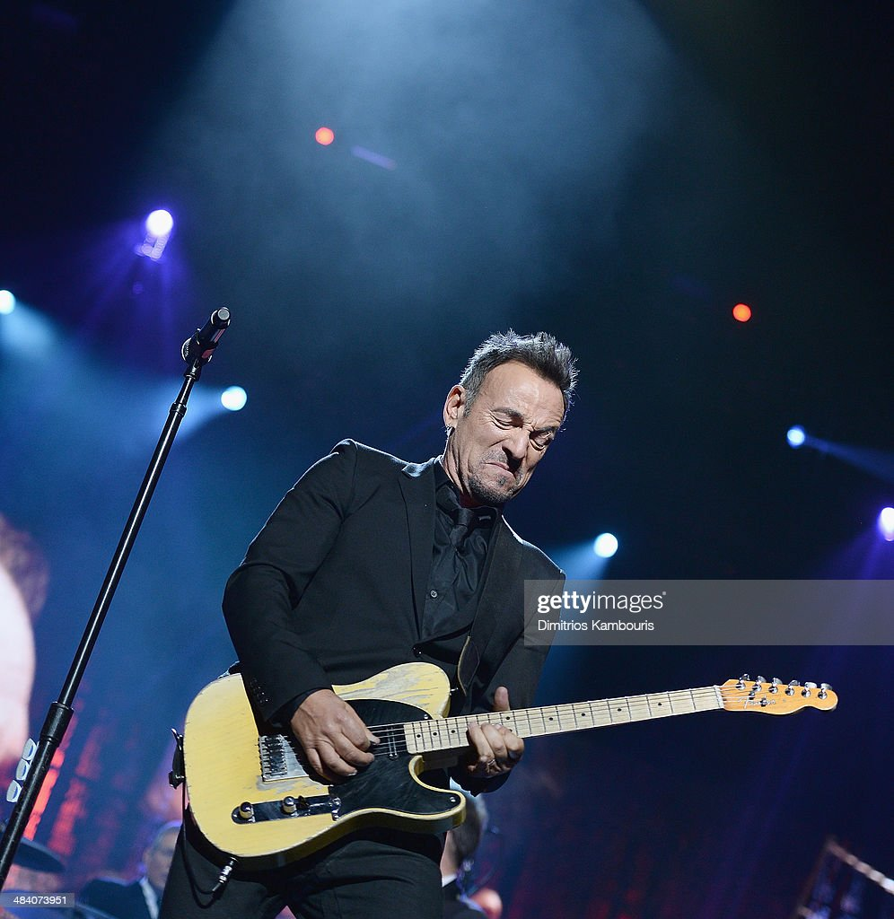 Musician Bruce Springsteen performs onstage at the 29th Annual Rock And Roll Hall Of Fame Induction Ceremony at Barclays Center of Brooklyn on April 10, 2014 in New York City.