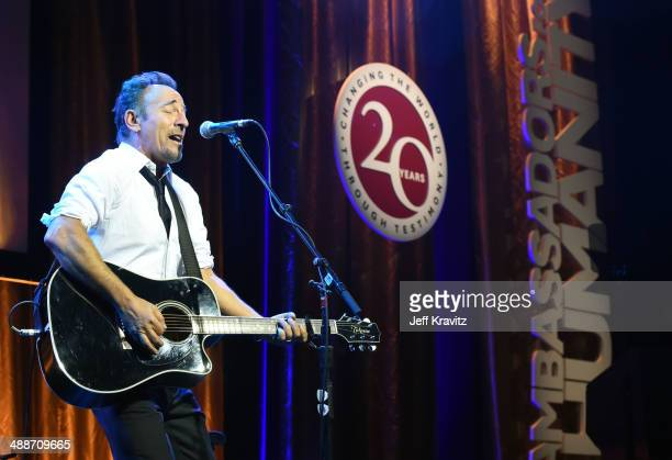 Musician Bruce Springsteen performs onstage during USC Shoah Foundation's 20th Anniversary Gala at the Hyatt Regency Century Plaza on May 7, 2014 in...