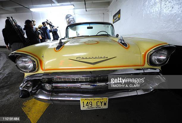 "Musician Bruce Springsteen's first car a 1957 Chevy Bel Air Convertible in which Springsteen wrote the song ""Born to Run"" is on display during a..."