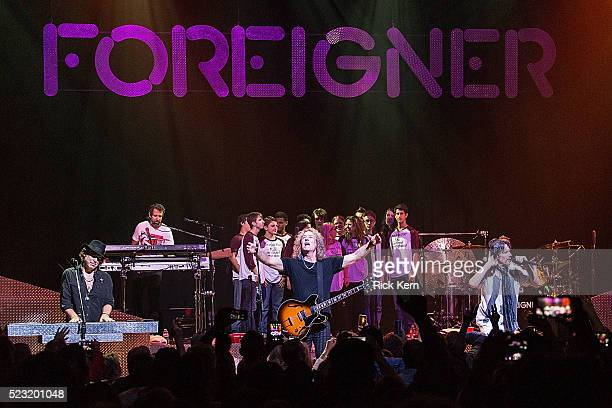 Musician Bruce Watson and vocalist Kelly Hansen of Foreigner perform in concert with the Austin High School choir at ACL Live on April 21 2016 in...