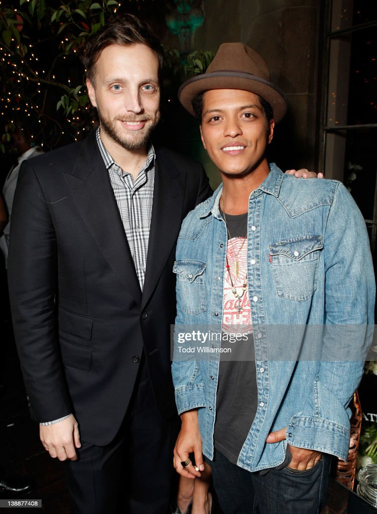 Musician Bruno Mars attends the Warner Music Group Grammy Celebration hosted by InStyle Editor Ariel Foxman at the Chateau Marmont on February 12, 2012 in Los Angeles, California