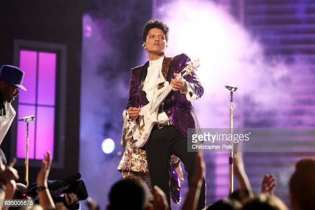 Musician Bruno Mars during The 59th GRAMMY Awards at STAPLES Center on February 12, 2017 in Los Angeles, California.