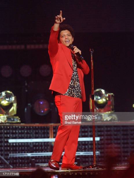 Musician Bruno Mars performs at the Verizon Center on June 22 2013 in Washington DC