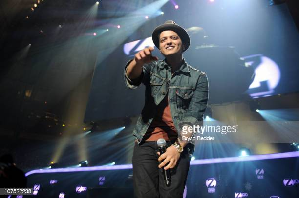 Musician Bruno Mars performs during Z100's Jingle Ball 2010 at Madison Square Garden on December 10 2010 in New York City