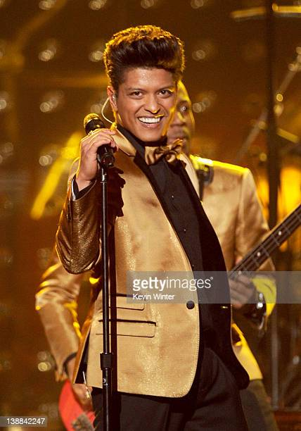 Musician Bruno Mars performs onstage at the 54th Annual GRAMMY Awards held at Staples Center on February 12 2012 in Los Angeles California