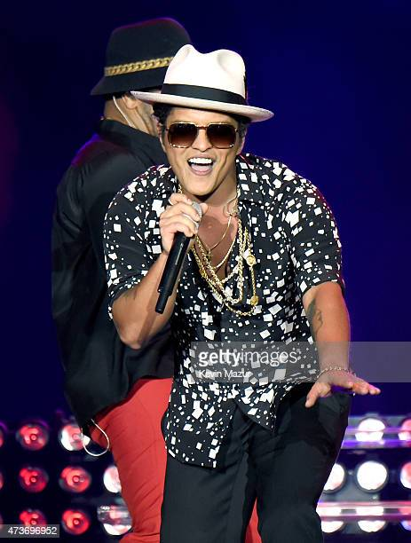 Musician Bruno Mars performs onstage during Rock in Rio USA at the MGM Resorts Festival Grounds on May 16 2015 in Las Vegas Nevada