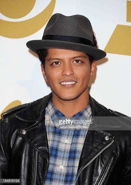 Musician Bruno Mars poses in media room at The GRAMMY Nominations Concert Live! Countdown to Music's Biggest Night at Nokia Theatre L.A. Live on...