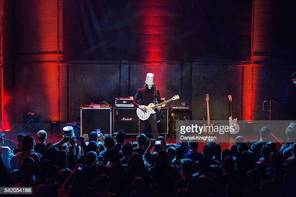 Musician Buckethead performs on stage at Music Box on June 21, 2016 in San Diego, California.