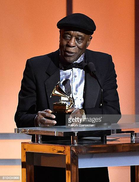 Musician Buddy Guy accepts the award for Best Blues Album for 'Born to Play Guitar' onstage during the GRAMMY PreTelecast at The 58th GRAMMY Awards...