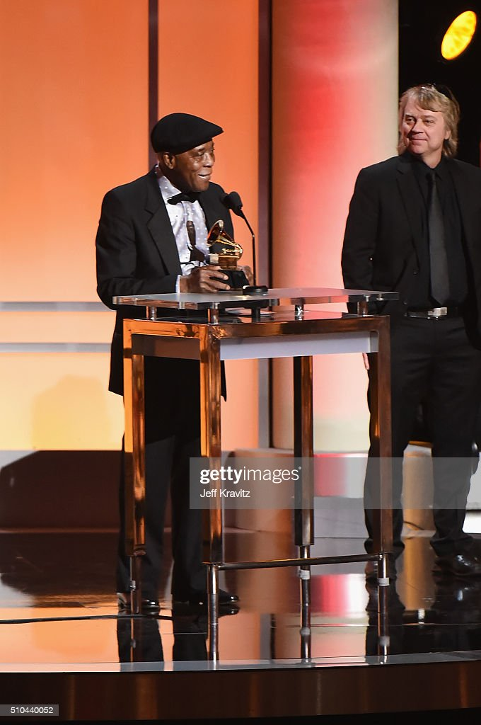 Musician Buddy Guy (L) and producer Tom Hambridge accept the award for Best Blues Album for 'Born to Play Guitar,' onstage during The 58th GRAMMY Premiere Ceremony at Los Angeles Convention Center on February 15, 2016 in Los Angeles, California.