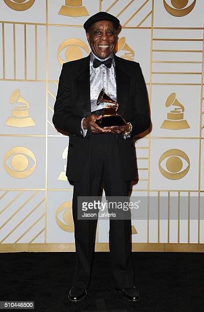 Musician Buddy Guy poses in the press room at the The 58th GRAMMY Awards at Staples Center on February 15 2016 in Los Angeles California
