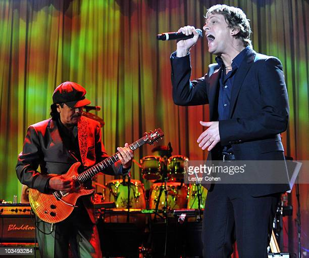 Musician Caralos Santana and singer Rob Thomas onstage during the 52nd Annual GRAMMY Awards Salute To Icons Honoring Doug Morris held at The Beverly...