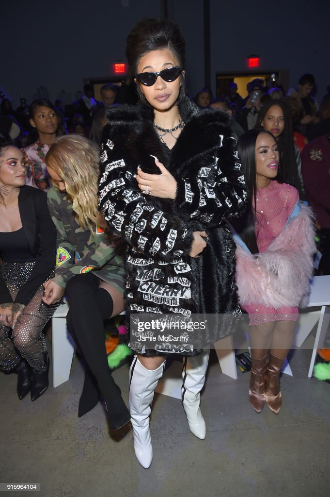 Musician Cardi B attends the Jeremy Scott front row during New York Fashion Week: The Shows at Gallery I at Spring Studios on February 8, 2018 in New York City.
