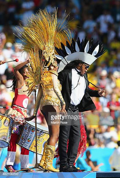Musician Carlinhos Brown performs during the closing ceremony prior to the 2014 FIFA World Cup Brazil Final match between Germany and Argentina at...
